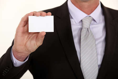 businesscard: Man presenting businesscard Stock Photo