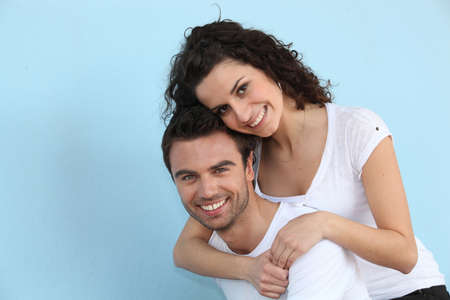 clowning: Woman embracing her boyfriend Stock Photo
