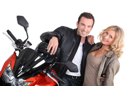 Biker couple with hand on shoulder Stock Photo - 16411427