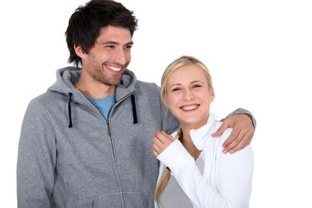exhilarated: a man and a woman laughing