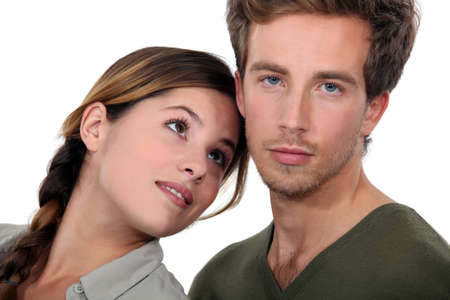 dilemma: Young couple posing Stock Photo