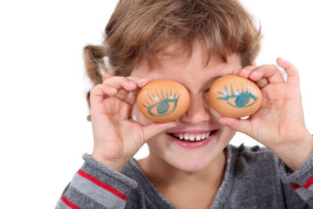 contracted: Girl with eggs for eyes