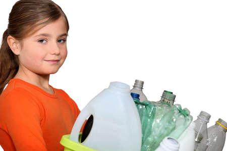 dumping: little girl waste sorting