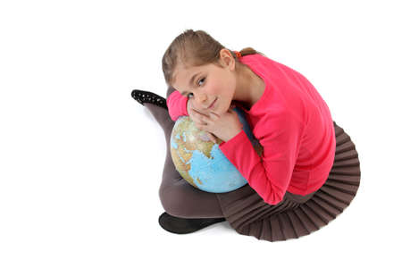 mother earth: Little girl holding a globe Stock Photo