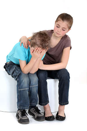 mourn: Comforting little girl