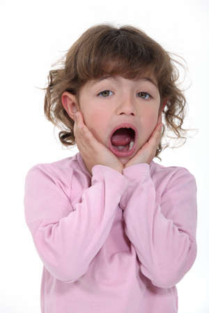 appalled: Scared young girl Stock Photo
