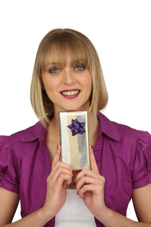 Woman with a gift photo