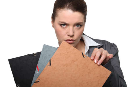 Businesswoman with folders photo