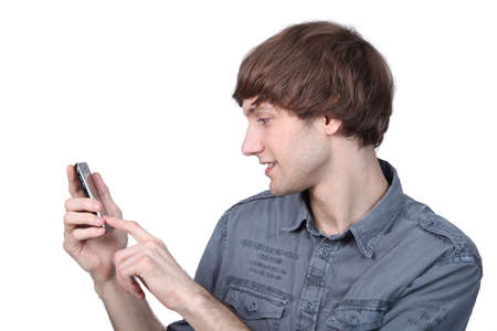 immersed: Man typing on his phone