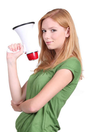 Girl with loudspeaker photo