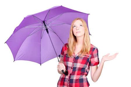 Woman with violet umbrella photo
