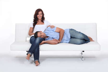 lap: Sleeping man with his head on his girlfriend