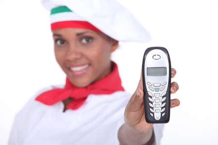 chirpy: Chef holding phone