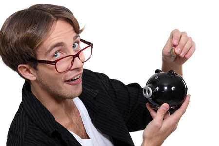 Man with a piggy bank photo