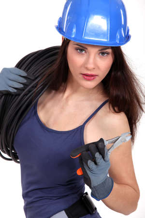 sensuous: Female electrician