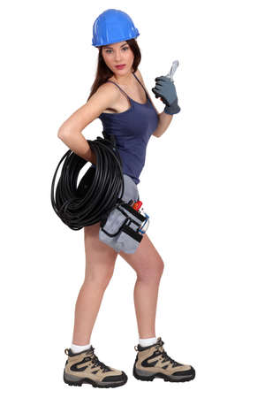 sexy construction worker: Sexy female electrician
