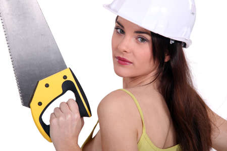 Woman with a saw Stock Photo - 16472106