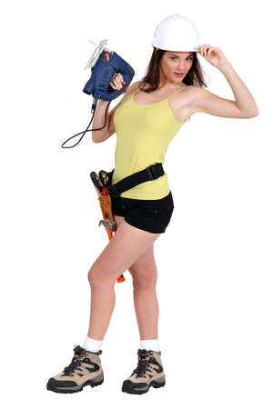 sexy construction worker: Handywoman in sexy clothing