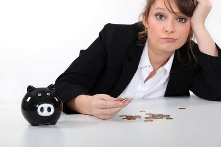 begging: Woman counting coins Stock Photo
