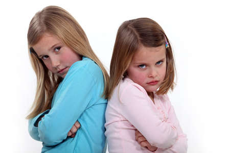 Two sisters arguing Stock Photo