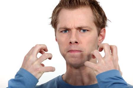 exasperate: Angry man Stock Photo
