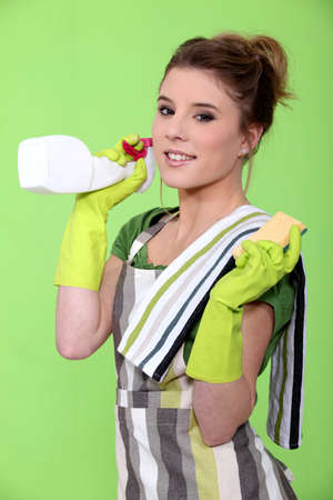 housewife gloves: A housewife doing chores