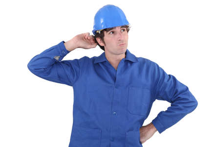 Confused plumber doesn Stock Photo - 16472104