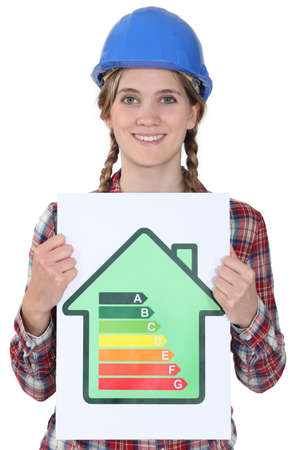 rated: Woman with energy efficiency chart