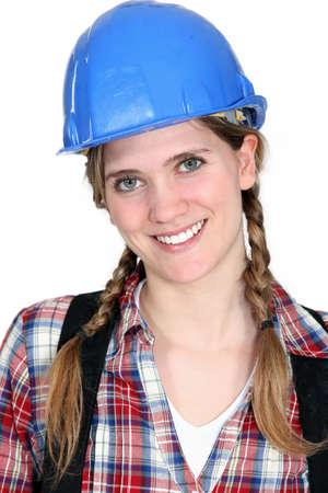 Happy female laborer Stock Photo - 16471985