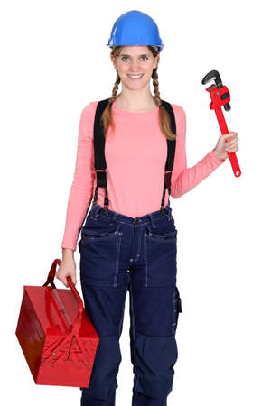 servicewoman: Woman with a toolbox Stock Photo
