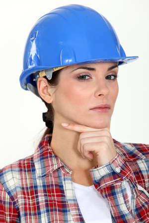 Closeup of a woman carpenter Stock Photo - 16471967