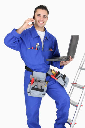 journeyman technician: Electrician and his equipment