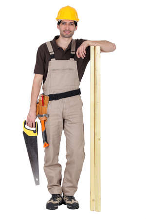 woodworker: Portrait of a carpenter with a handsaw Stock Photo