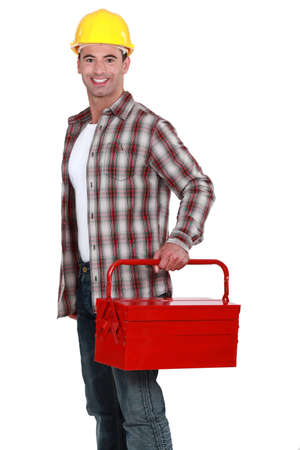 Worker with a toolbox photo