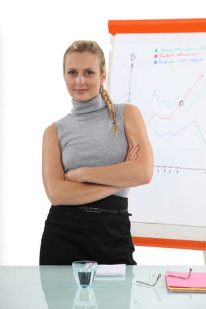 halterneck: Confident businesswoman standing in front of a flip chart Stock Photo