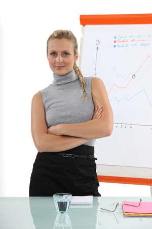 halter neck: Vertrouwen zakenvrouw staande voor een flip-over Stockfoto