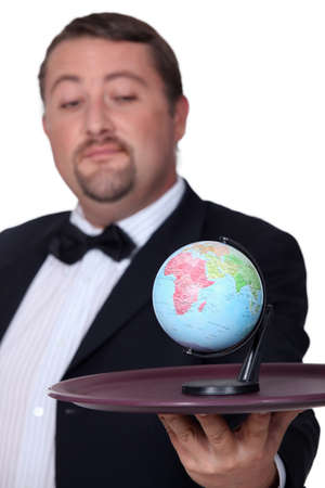portly: Concept shot showing the world on a platter Stock Photo