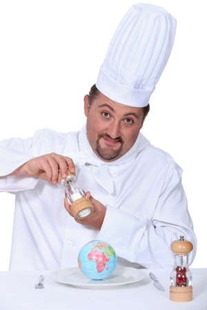 Chef condimento un globo photo