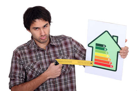 Grumpy man pointing to the lower end of an energy efficiency rating scale with a try square photo
