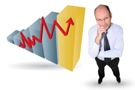 statistician: Businessman with an upwards growth chart