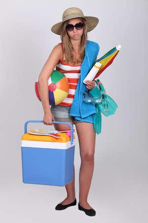 beach ball girl: Too many things Stock Photo