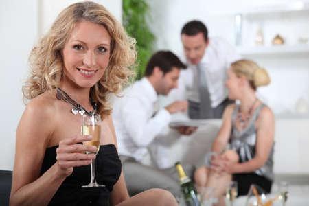 sociability: Aperitif with friends Stock Photo