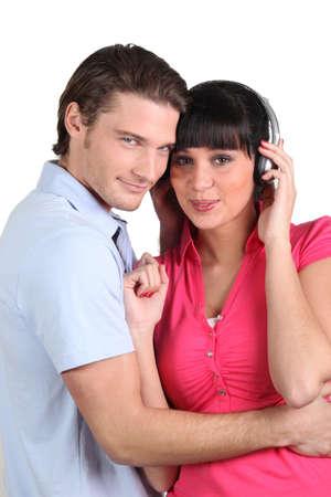 encounter: brunette with earphones and boyfriend cuddling