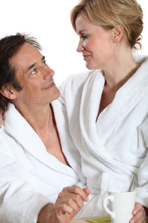 Couple wearing dressing gowns Stock Photo - 16546856