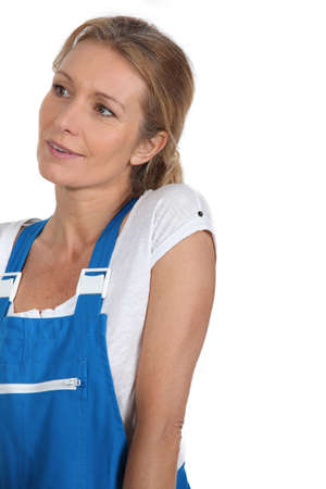 dungarees: Woman in blue work dungarees
