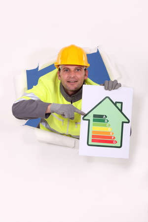 consuming: Worker with an energy rating sign