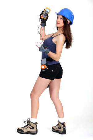 A sexy female electrician  photo