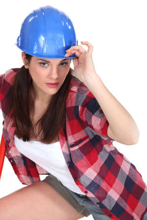 Woman with blue helmet Stock Photo - 16546913