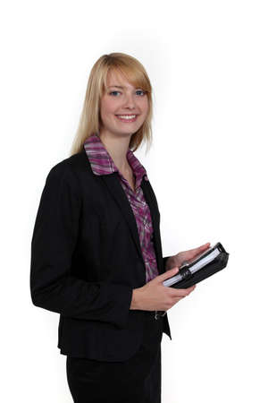 Woman holding a personal organizer Stock Photo - 16547036