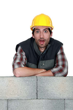 Surprised bricklayer photo